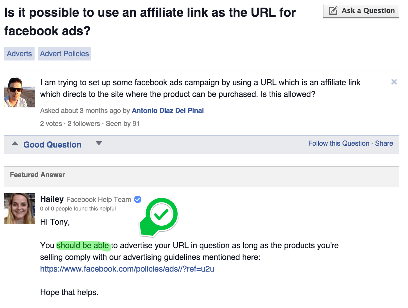 message from Facebook's help centre illustrating that Facebook do allows affiliate links in adverts