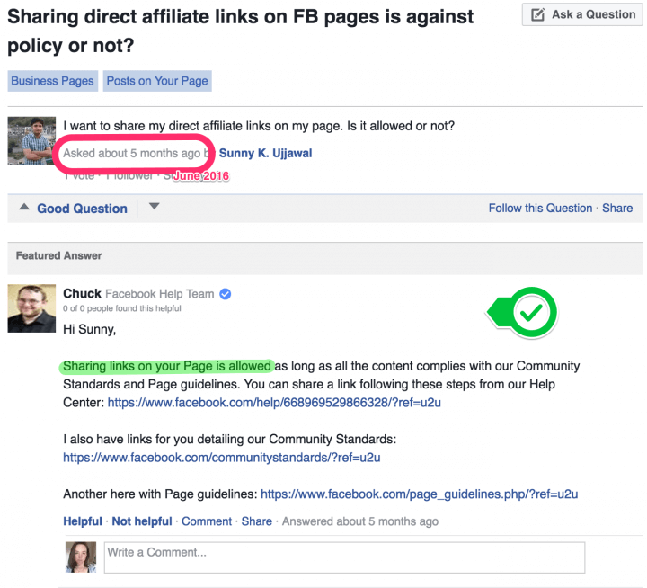 Sharing direct affiliate links on FB page policy