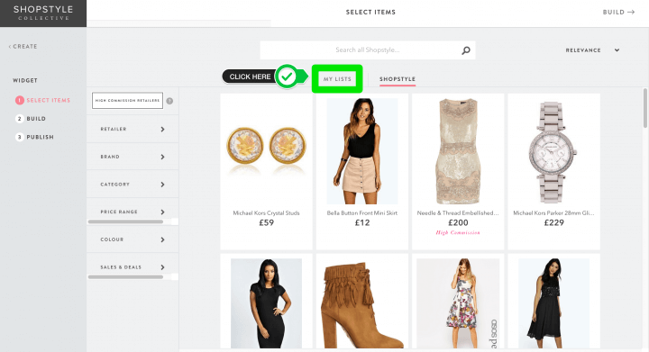 ShopStyle Collective - Create widget from list