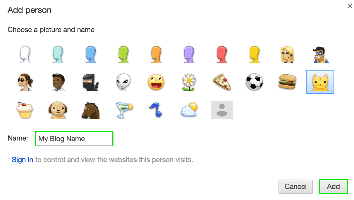 Adding a new user in Chrome
