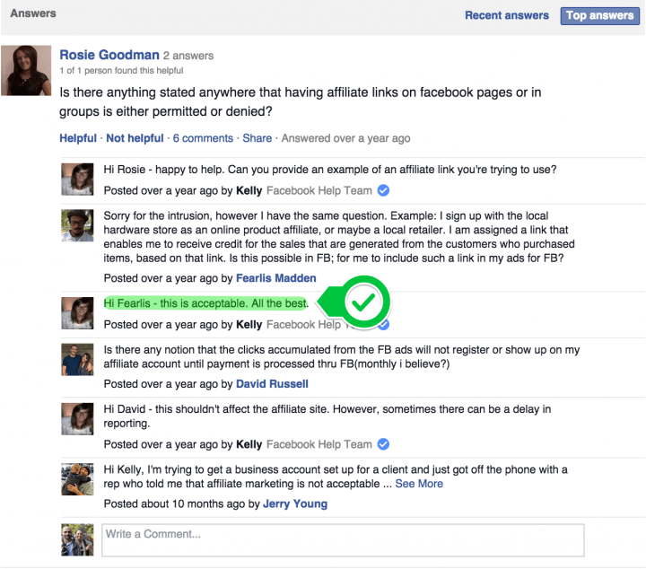 message from Facebook's help centre illustrating that Facebook do allows affiliate links on pages