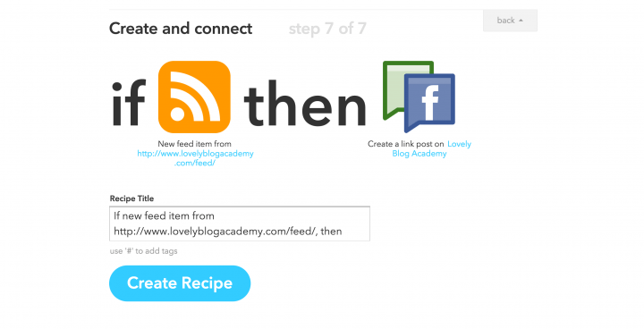 IFTTT - success! WordPress RSS connected with Facebook!