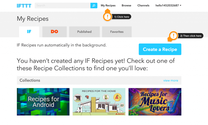 IFTTT creating your first recipe
