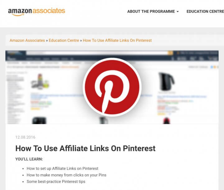 Amazon Associates in the EU allow Pinterest
