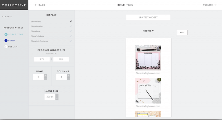 Shopstyle Collective widget options